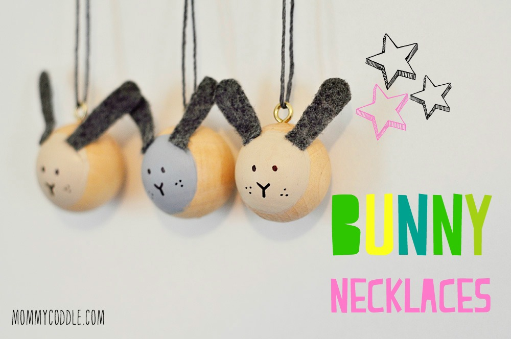 These wooden bead bunny necklaces are adorable!