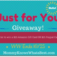 Just for You! $25 Amazon Gift Card OR Paypal Giveaway