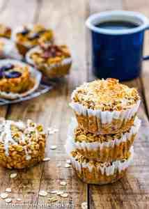 Eggless Baked Apple Oatmeal Muffins