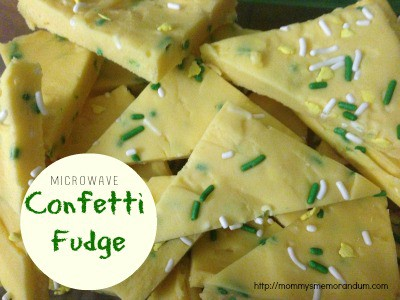 confetti fudge made in the microwave