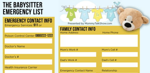 Download FREE Babysitter Emergency Checklist