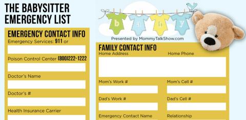 Download FREE Babysitter Emergency Checklist
