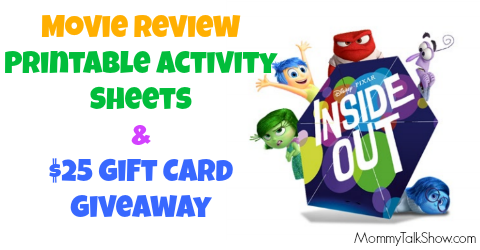 [VIDEO] INSIDE OUT Movie Review, Printables and $25 Gift Card Giveaway