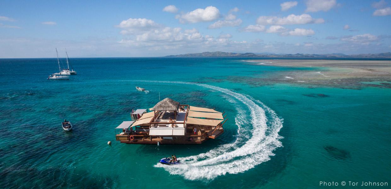 bar, restaurant, flottant, Cloud9, océan Pacifique
