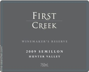 etiquette vin First creek hunter valley