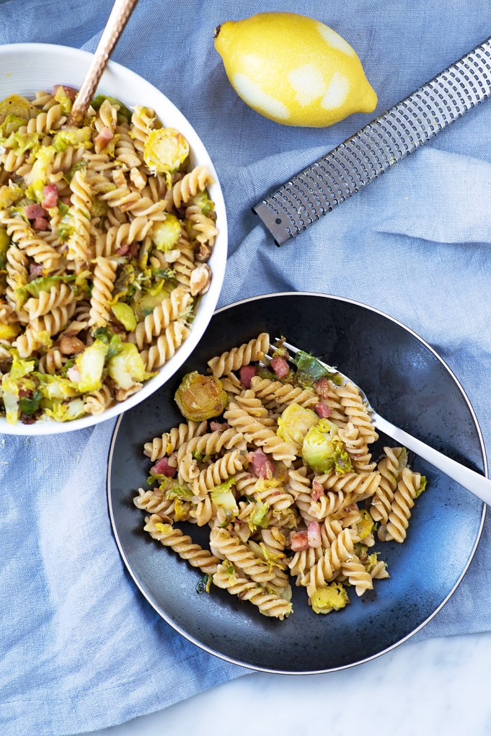 This Pasta with Brussels Sprouts, Pancetta and Lemon Zest is easy and ...