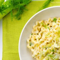 Fusilli lunghi with gorgonzola and fennel