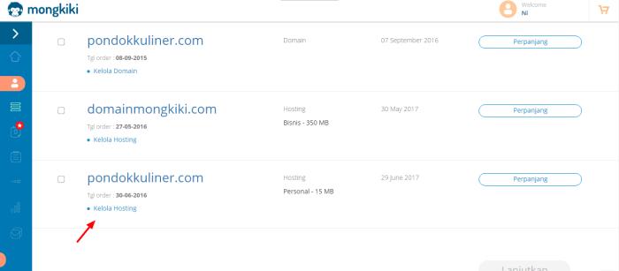 klik kelola hosting