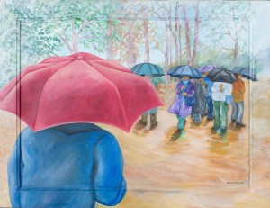 Monika Ruiz Art - Rain, Red Umbrella