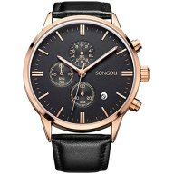 SONGDU Date Black Multifunction Chronograph Mens Watches Stopwatch Rose Gold With Leather Strap