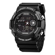ETEVON Mens Sport Watch 98FT Waterproof Outdoor Electronic LED Backlight Display Quartz Digital Watches Military Style with Stopwatch Alarm Calendar Date Window – Black