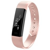 Fitness Trackers MRS LONG YG3 Activity Tracker Bracelet Wristband HR Pedometer Wireless Bluetooth 4.0 Steps Distance Sleep Calorie Swipe Touch Screen Call Message Reminder for Android and iOS (Pink)