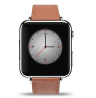 Bluetooth Leather strap SMART WATCH SIM Slot Camera silver Case For Android phones