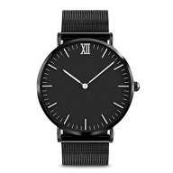Mens Quartz Analog Watches, Roman Numerals Analog Wristwatch Luxury Watch Bands Waterproof Wristwatch Stainless Steel Dress Quartz Fashion Casual Business 30M/98FT Water Resistant (Black)