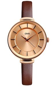 CIVO Women's Slim Brown Genuine Leather Band Luxury Waterproof Wrist Watch Business Casual Rose Gold Case