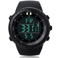 Men's Boy's Military Shock Resistant LED Digital Multifunctional Sport Watch 30M Waterproof Casual Fashion Luxury Wrist Watch (Black)