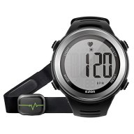 EZON T007A11 Digital Watch Heart Rate Monitor Watch with Alarm Hourly Chime Stopwatch, HRM Tech Chest Strap Large Display Black Sport Pulse Watch for Men and Women