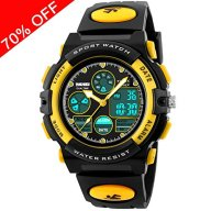 Kid Watch 50M Waterproof Sport LED Alarm Stopwatch Digital Child Quartz Wristwatch for Boy Girl Yellow