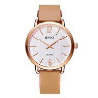 Women's Classic Analog Business / Casual Watch, Luxury Light Brown Leather Band Wrist Watch with Rose Gold Case