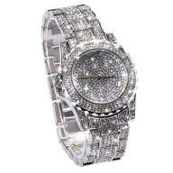 Huntmic Luxury Full Diamond Lady Watch Rhinestone Stainless Steel Band Bracelet Wristwatch -Silver color