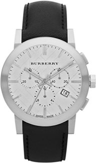 Swiss Burberry LUXURY Chronograph Watch Men Unisex The City Black Leather Silver Date Dial BU9355