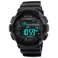 Men's Waterproof Digital Sports Watch – Black Military Wrist Watches for Boys – Alarm, Countdown Timer, Stopwatch, EL Back Light, Dual Time, 12/24H Mode, Month, Date and Day, 165FT Water Resistant