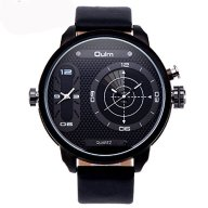Randon Luxury Mens Fashion Design Dual Movt Quartz Analog Wrist Watch Black Leather Strap Sports Watches