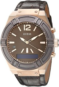 GUESS Men's CONNECT Smartwatch with Amazon Alexa and Genuine Leather Strap Buckle – iOS and Android Compatible –  Rose Gold