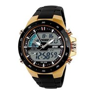 SKMEI Men's Digital Sports Watch with LED Back Light Large Face Water Resistant Military Watches Casual Luminous Stopwatch Alarm Simple Army Watch – Gold