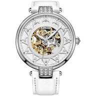 BUREI Women's Automatic Watch Silver Gold with Sapphire Lens and Genuine White Leather Band