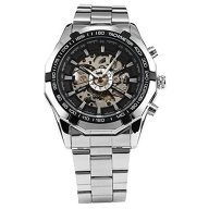 Fanmis Russian Skeleton Black Dial Silver Stainless Steel Luxury Men's Automatic Mechancial Wrist Watch