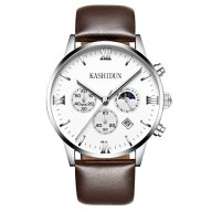 KASHIDUN.Men's Casual Watches Classic Swiss Luxury Wrist Watches 43mm Big Dial-White.ZH-YBZP