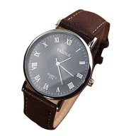 YANG-YI Luxury Fashion Faux Leather Quartz Analog Watch Watches Mens