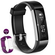 Fitness Tracker, Wesoo K1 Fitness Watch : Activity Tracker Smart Band with Sleep Monitor, Smart Bracelet Pedometer Wristband with Replacement Band for iOS & Android (Black+Purple Band)