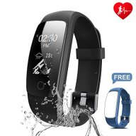 Fitness Tracker, Ronten R7 Plus Fitness Watch With Heart Rate Monitor, Waterproof Activity Tracker, Wireless Bluetooth Smart Bracelet with Replacement Strap for Android & IOS (Black+Blue(strap))