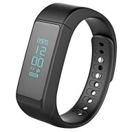 Wireless Fitness Pedometer Tracker Bluetooth Sports Bracelet Activity Tracker with Steps Counter Sleep Monitoring Calories Track for iPhone 7 6 /Android (Black)
