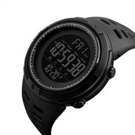 Men's Digital Sport Watch Led Electronic Military Wrist Watch with Alarm Stopwatch Dual Time Zone Count Down EL Backlight Calendar Date Window -All Black