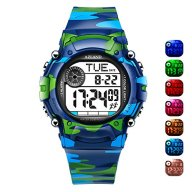 AZLAND 7 Colors Flashing, Multiple Alarms Potty Training Reminder Sports Kids Wristwatch Waterproof Boys Girls Digital Watches Camo, for Age 4-12