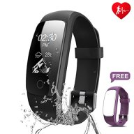 Fitness Tracker, Ronten R7 Plus Fitness Watch With Heart Rate Monitor, Waterproof Activity Tracker, Wireless Bluetooth Smart Bracelet with Replacement Strap for Android & IOS (Black+Purple(strap))