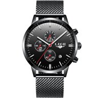 Watches Men's Black Luxury Steel Thin Wrist Watches Waterproof Unique Fashion Chronograph Men Watch