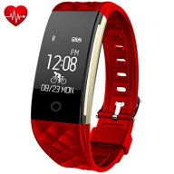 Fitness Tracker,Juboury Heart Rate Activity Trakcer Touch Screen Wearable Pedometer Bluetooth Smart Wristand with Sleep Monitor,Steps Counter,Calories Track for Android and IOS Smart Phones(Red)