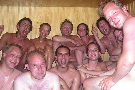 People enjoying a German sauna