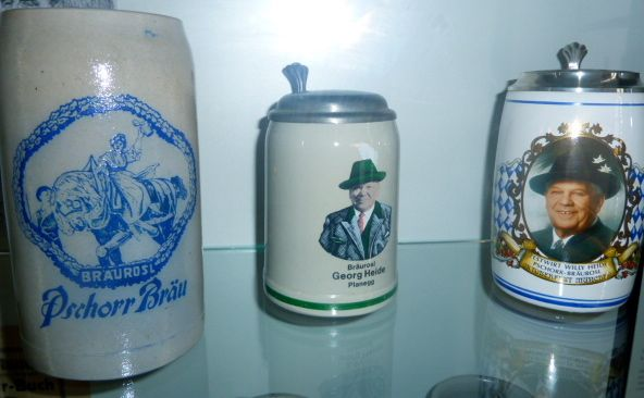 Bier steins collection at the Bier and Oktoberfest Museum in Munich, Bavaria, Germany