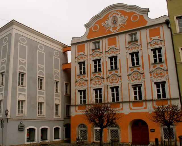 This bright orange and white building reminded me of a giant Easter Egg - in Burghausen, Germany.