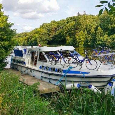 Houseboating along the Mayenne River in France.
