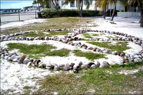 Peace sign made out of coconuts in Key West