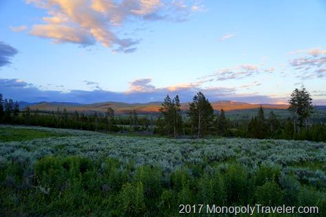 Sun setting on another beautiful day in Yellowstone