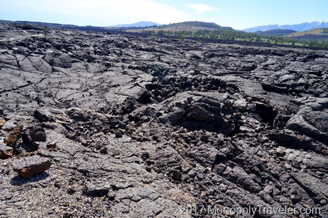 Lava rock covering much of the landscape