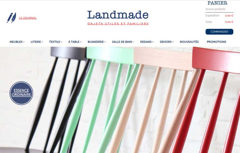 Landmade mobilier durable - nouveau site internet