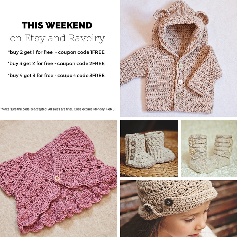 Buy 2 get 1 for FREE – crochet and knit patterns!